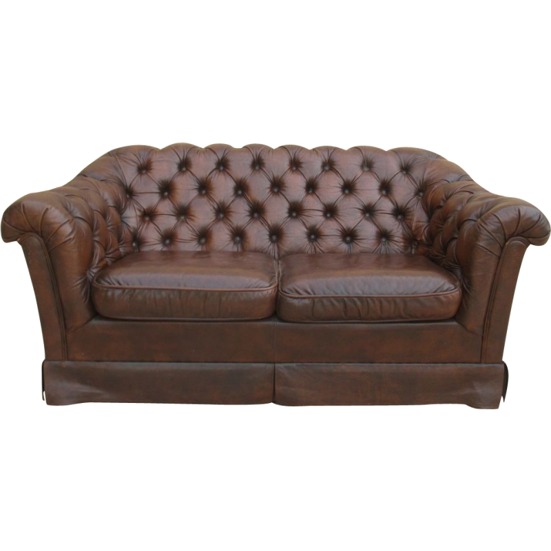 Vintage couch png. English leather chesterfield sofa