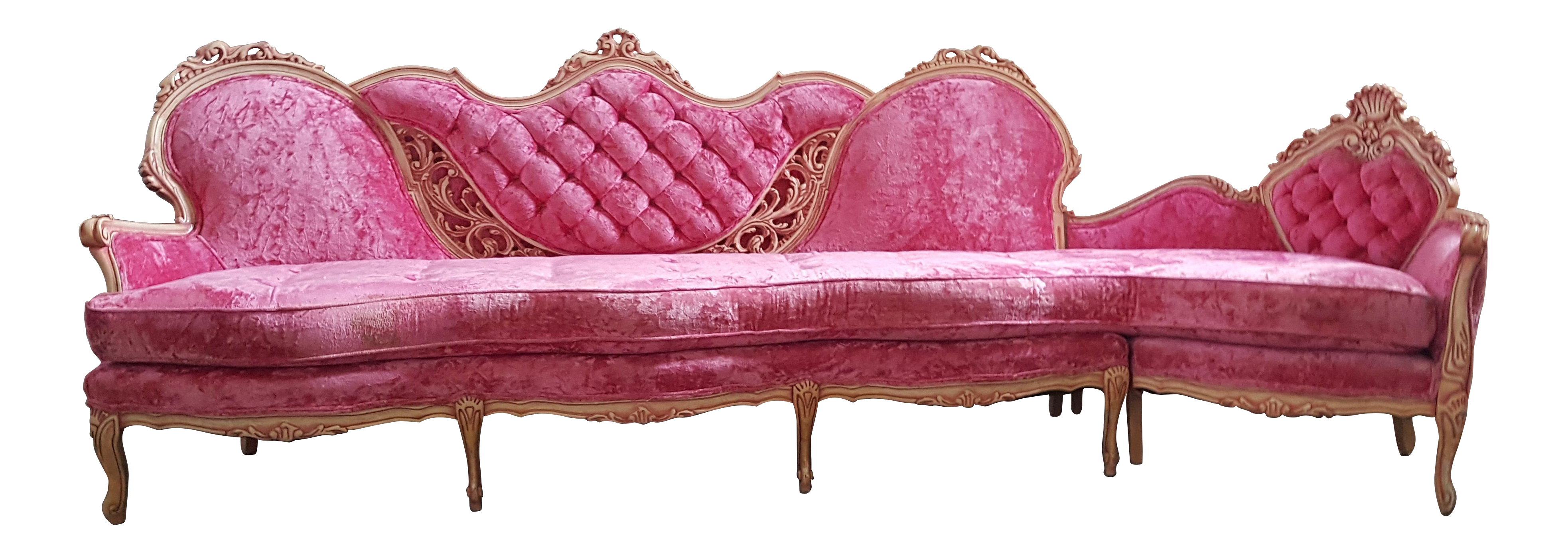 Vintage couch png. French provincial pink velvet
