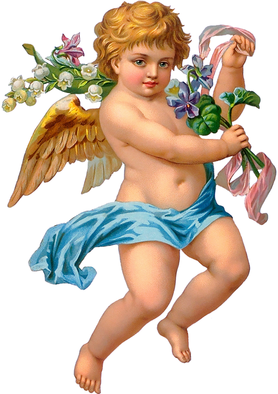 Vintage cupid png. Forgetmenot valentine s day