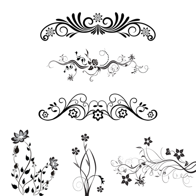 Vintage design elements png. Floral ornamental vector