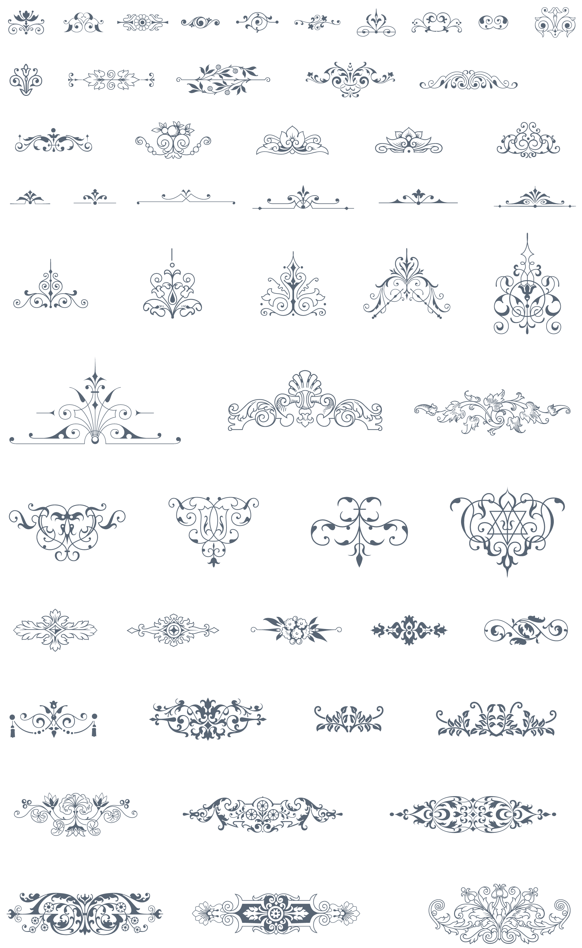 Vintage elements vector png. Essential pack ornaments decorative