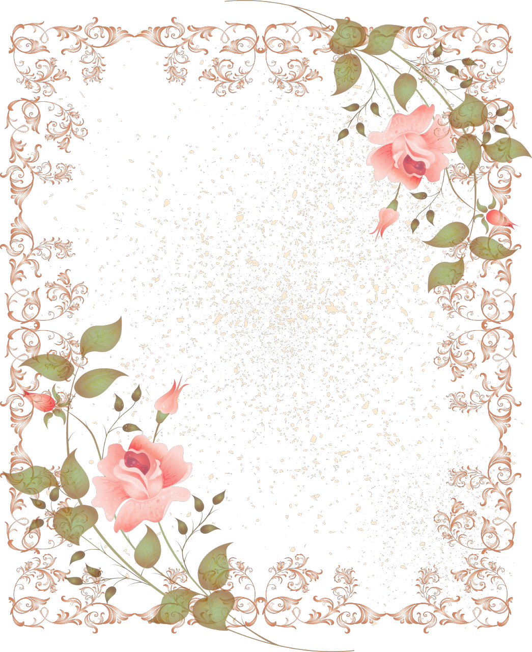 Floral borders png. Retro style border picture
