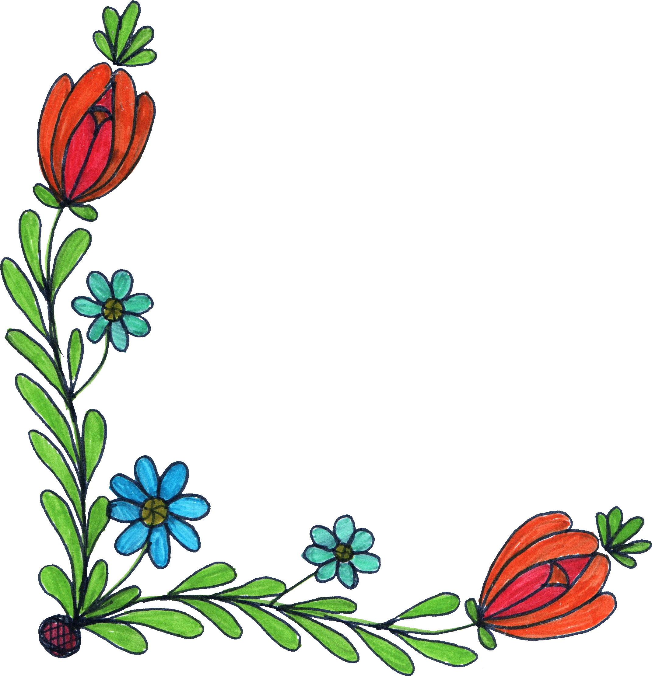 Flower drawing png. Corner transparent onlygfx