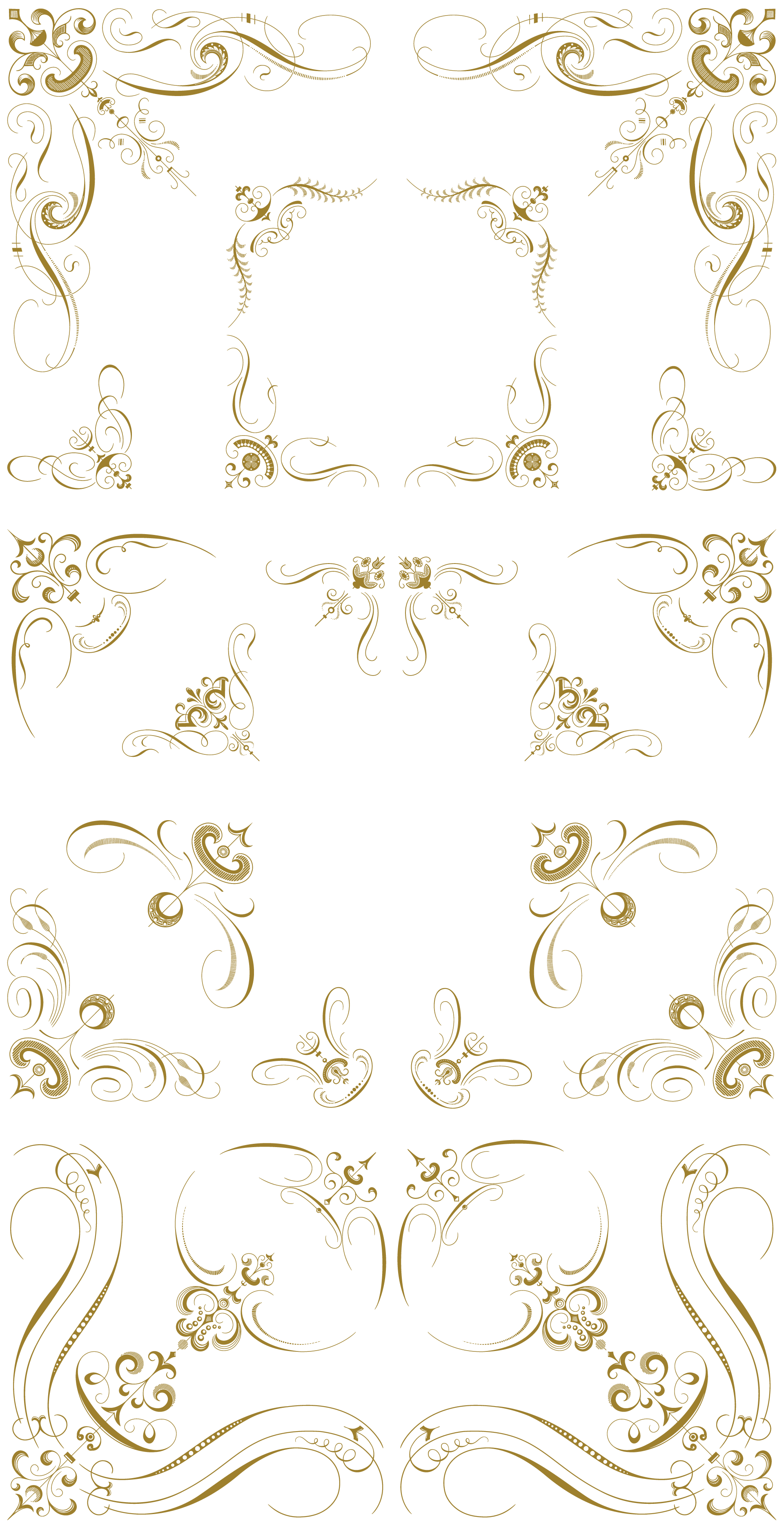 Vintage flourishes png. Luxurious vector pack ornaments