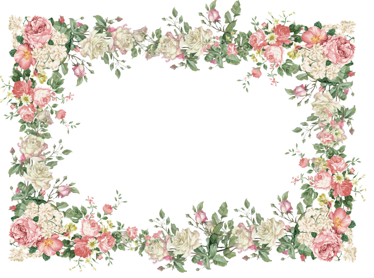 Pink free white and. Vintage flower frame png clip free stock
