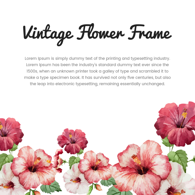 With typography and vector. Vintage flower frame png jpg black and white stock