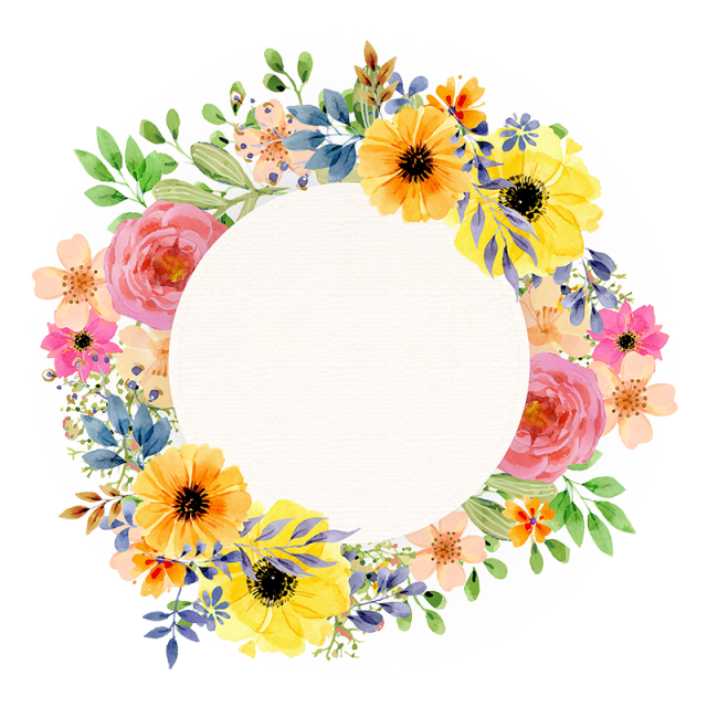 Watercolor floral spring. Vintage flower frame png clip art black and white library