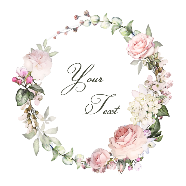 Floral wreaths with typography. Vintage flower vector png clip royalty free stock