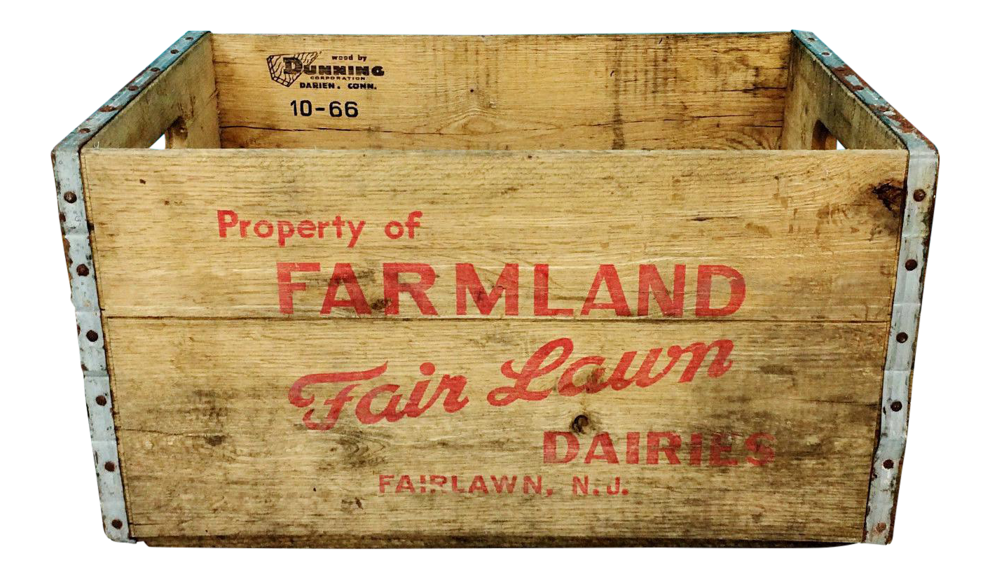Vintage garden crate png. Fairlawn dairy nj wooden