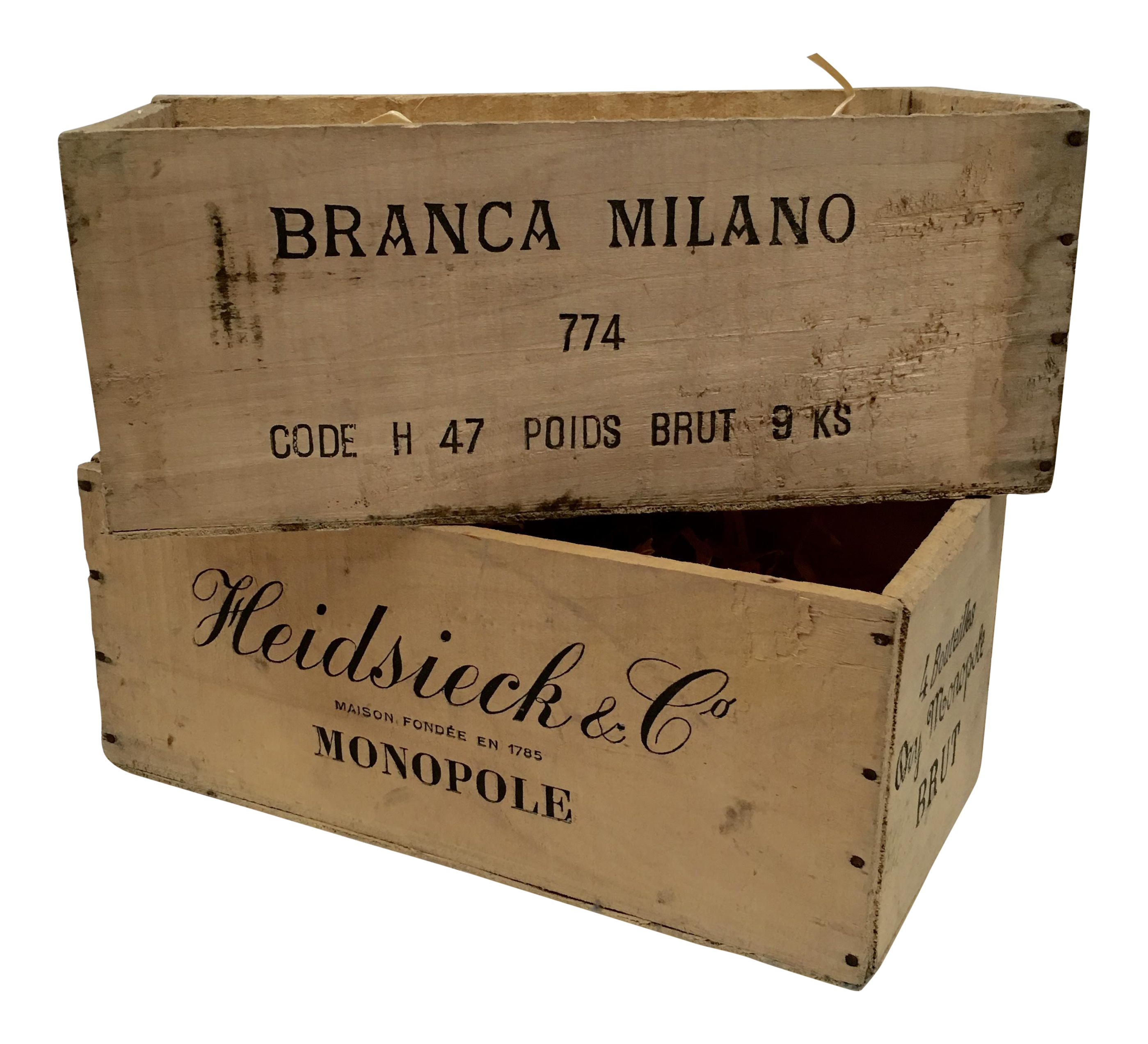 Vintage garden crate png. French champagne crates a