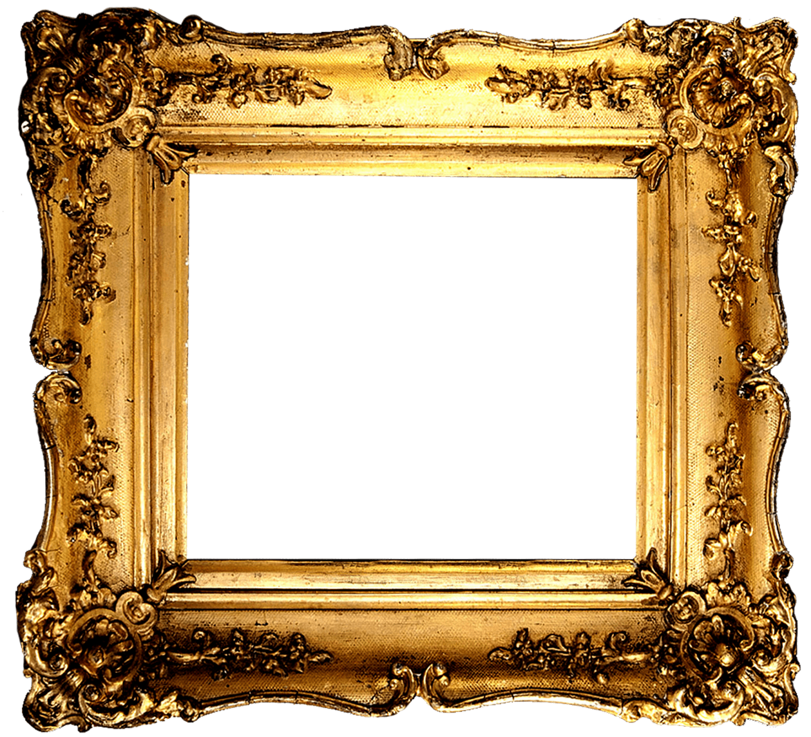 Ornate frame png. Vintage gold transparent stickpng