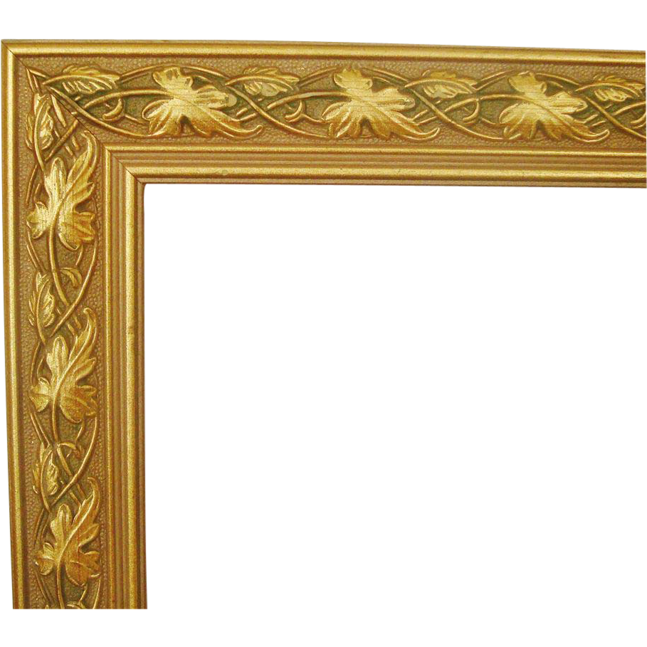 Vintage gold frame png. Of wood picture