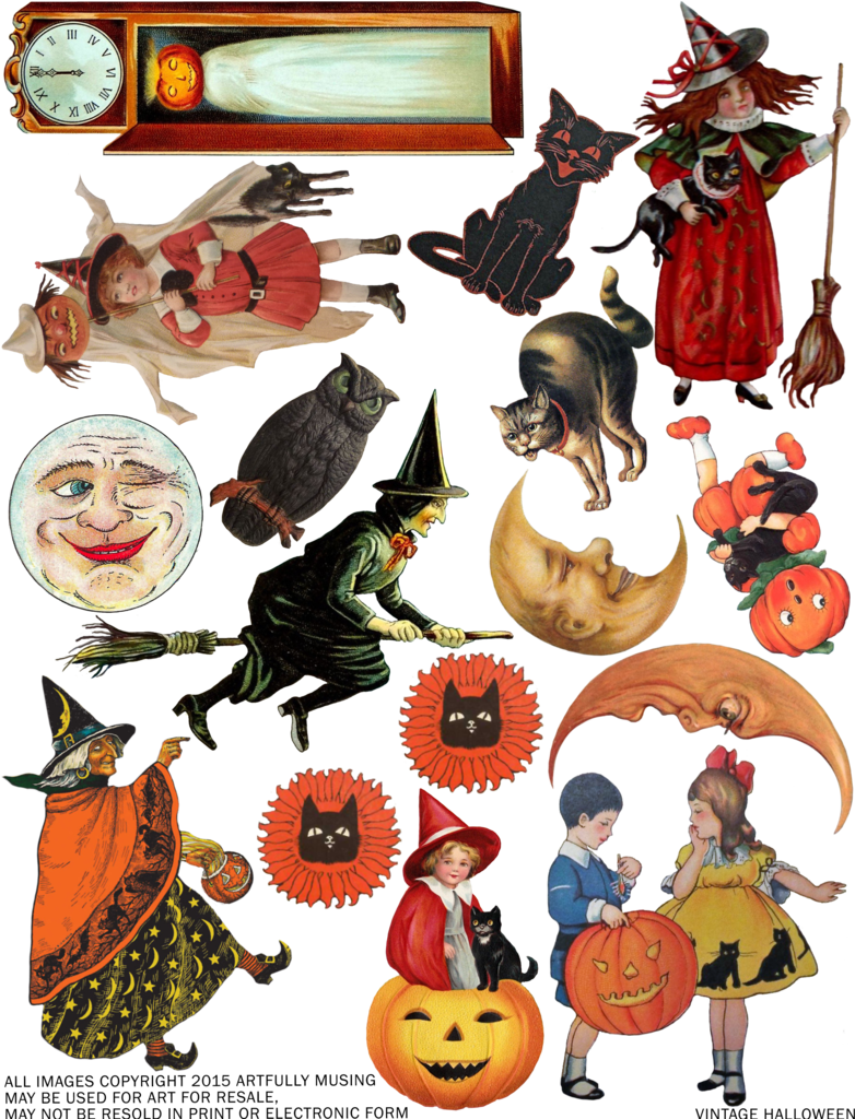 Vintage halloween png. Artfully musing free collage