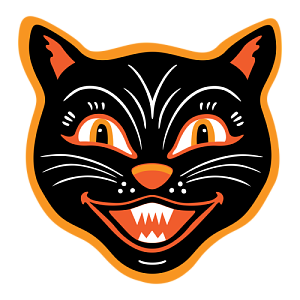 Vintage halloween png. Black cat by fetch