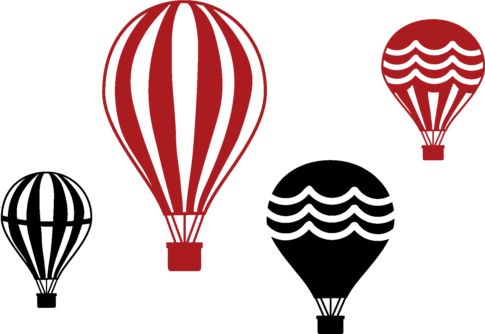 Vintage hot air balloon png. Download set of four