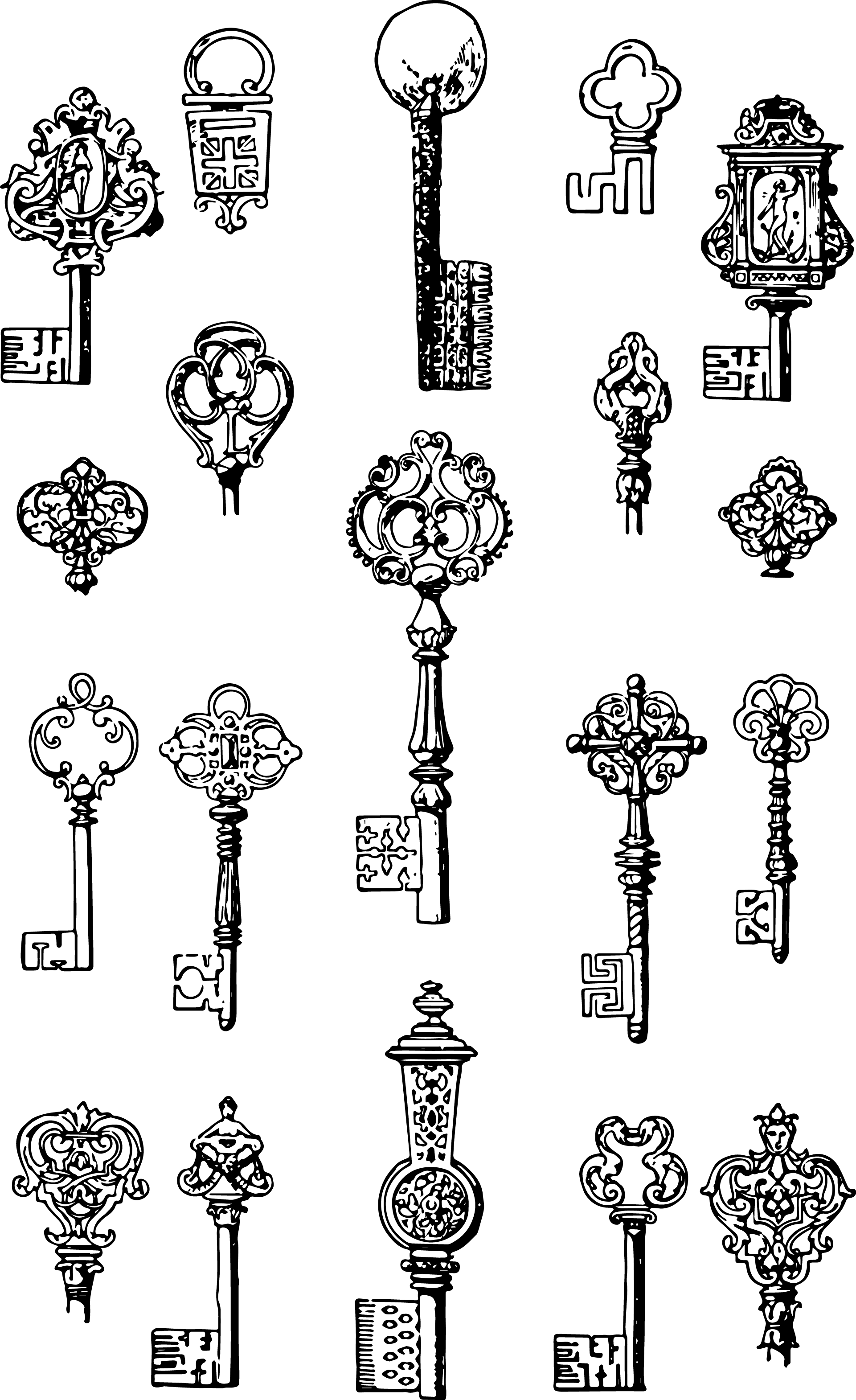 Vgosn vintage keys clip. Vector nail old clipart free stock
