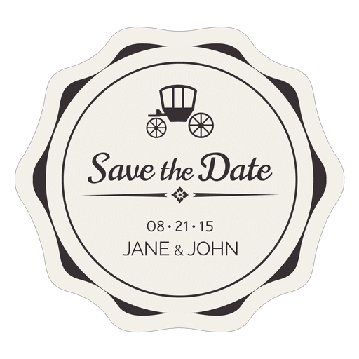 Vintage label png. Save the date transparent