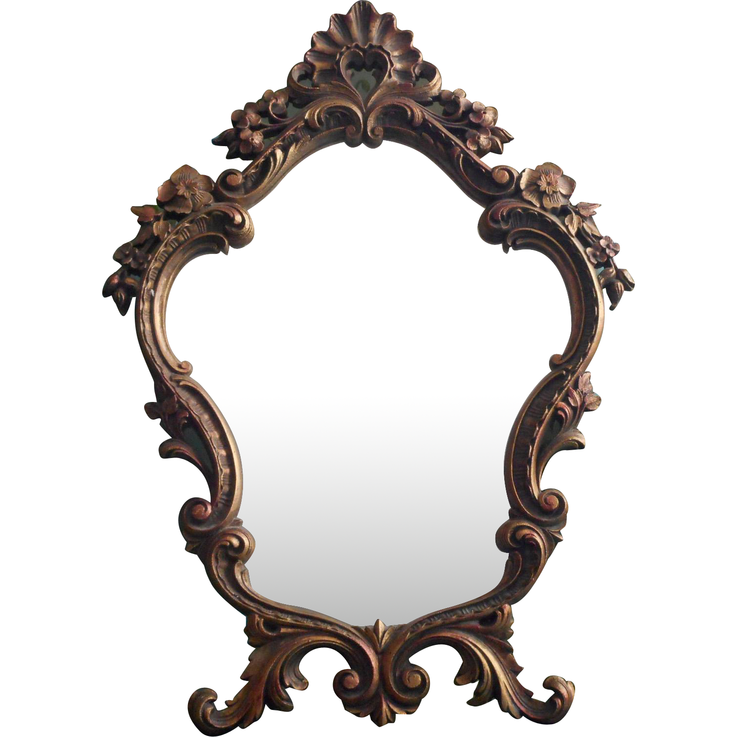 Vintage mirror png. Ornate easel style standing