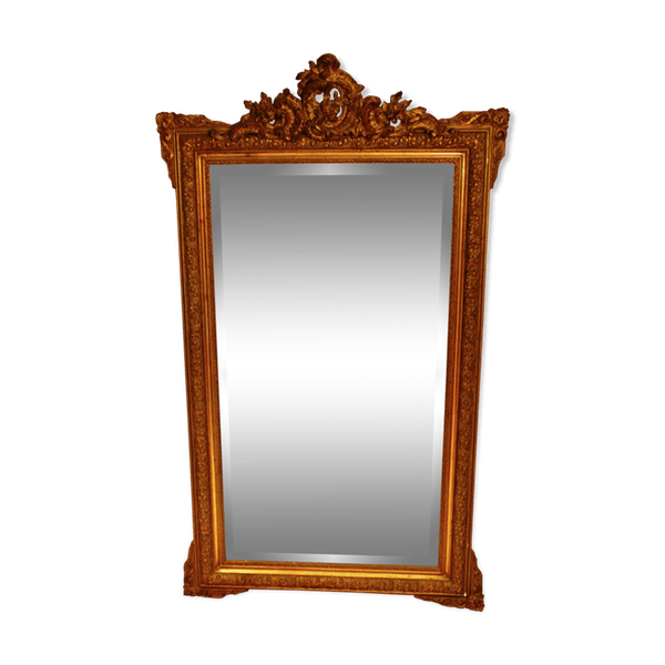 Vintage mirror png. Wooden gold th century