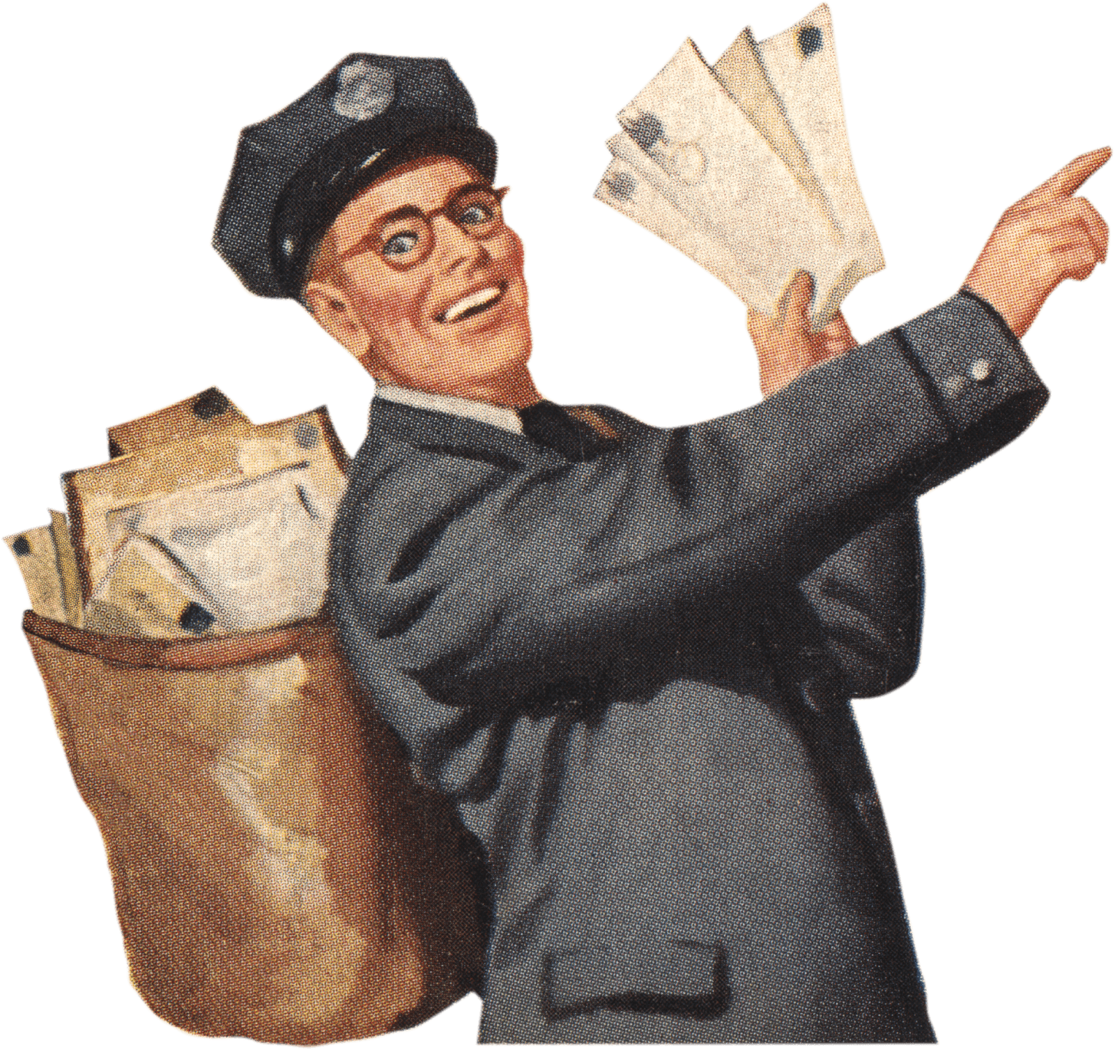 Vintage people png. Postman photos