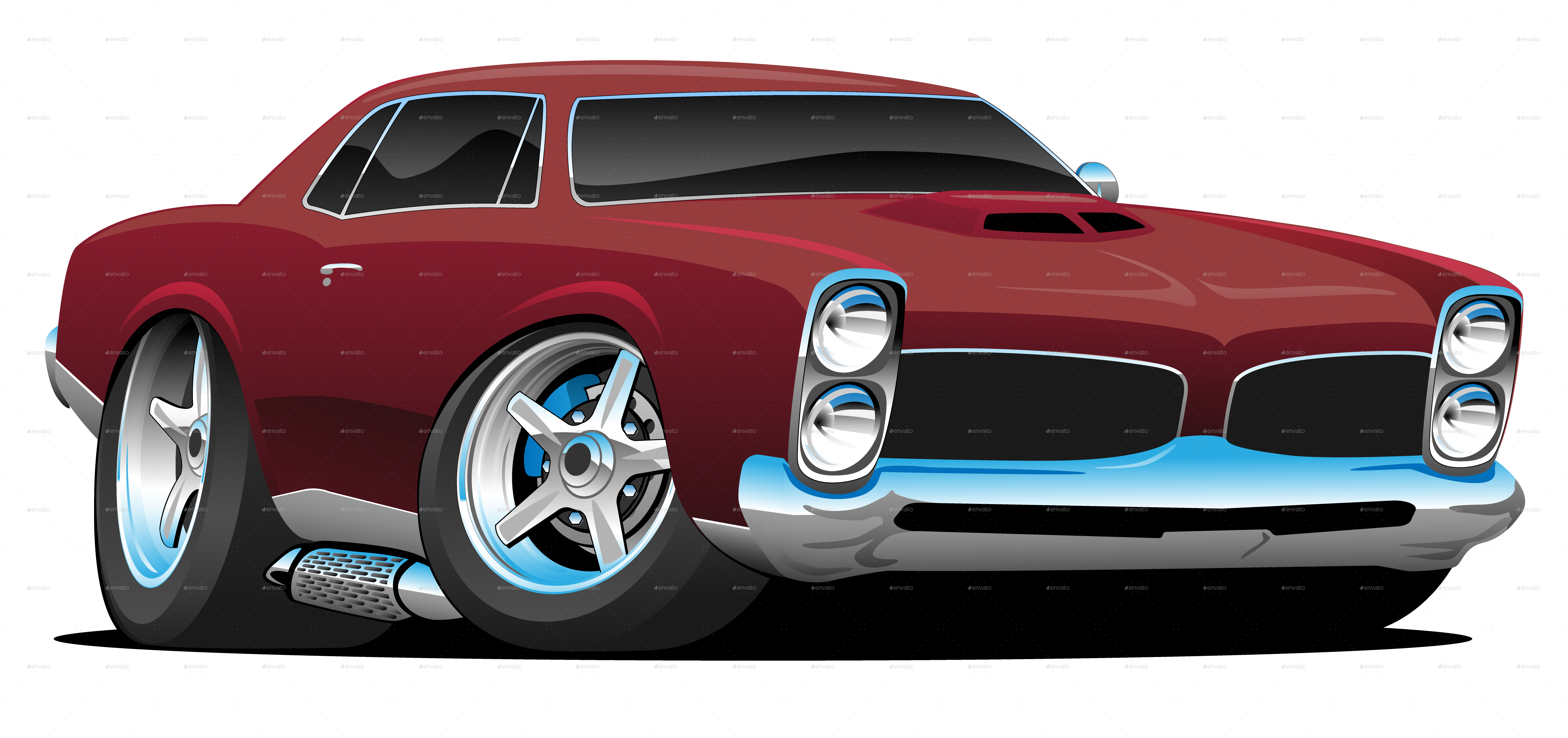 Vintage muscle buick png. Classic american car cartoon