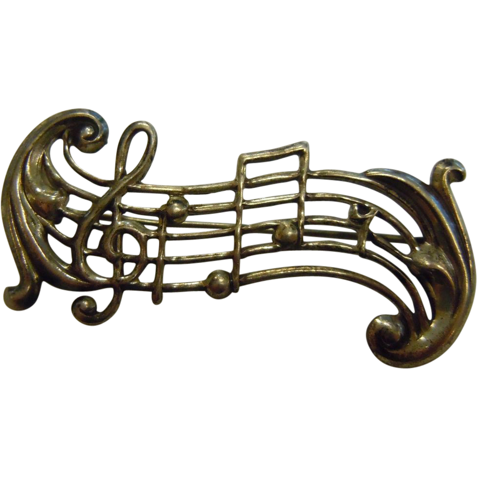 Vintage musical notes png. Sterling silver brooch music
