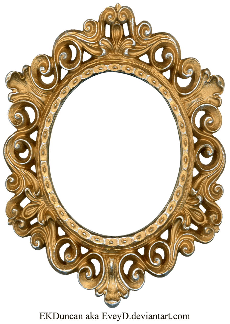 Gold oval frame png. Vintage and silver by