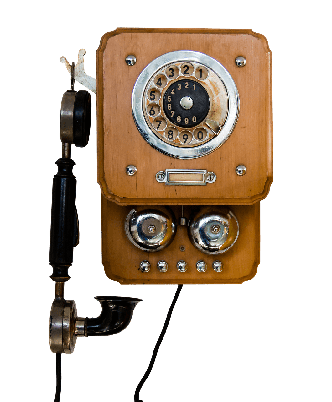 Vintage telephone png. Mounted on wall transparent