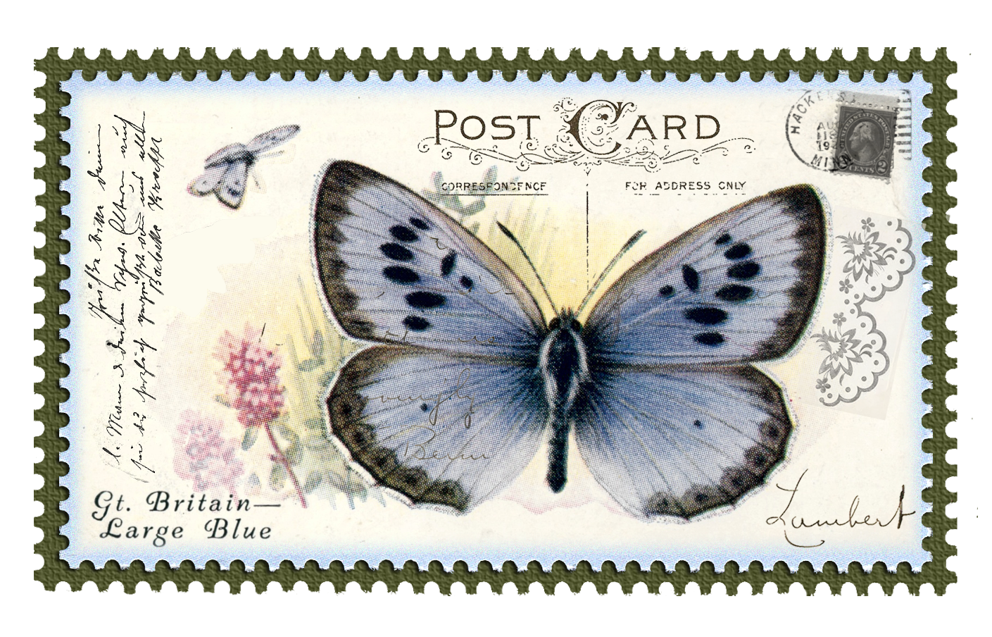 Vintage postage stamp png. Swallowtail butterfly stamps paper