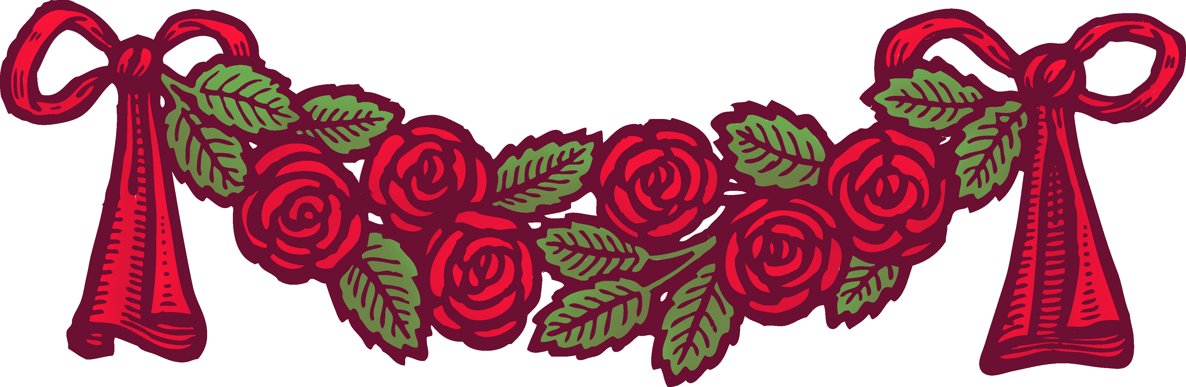 Vintage ribbon png. Red roses with ribbons