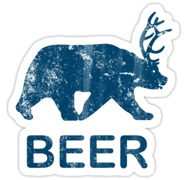 Beer bear deer t. Vintage sticker png picture library library
