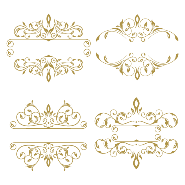 Vintage frame vector png. Collection of floral ornament