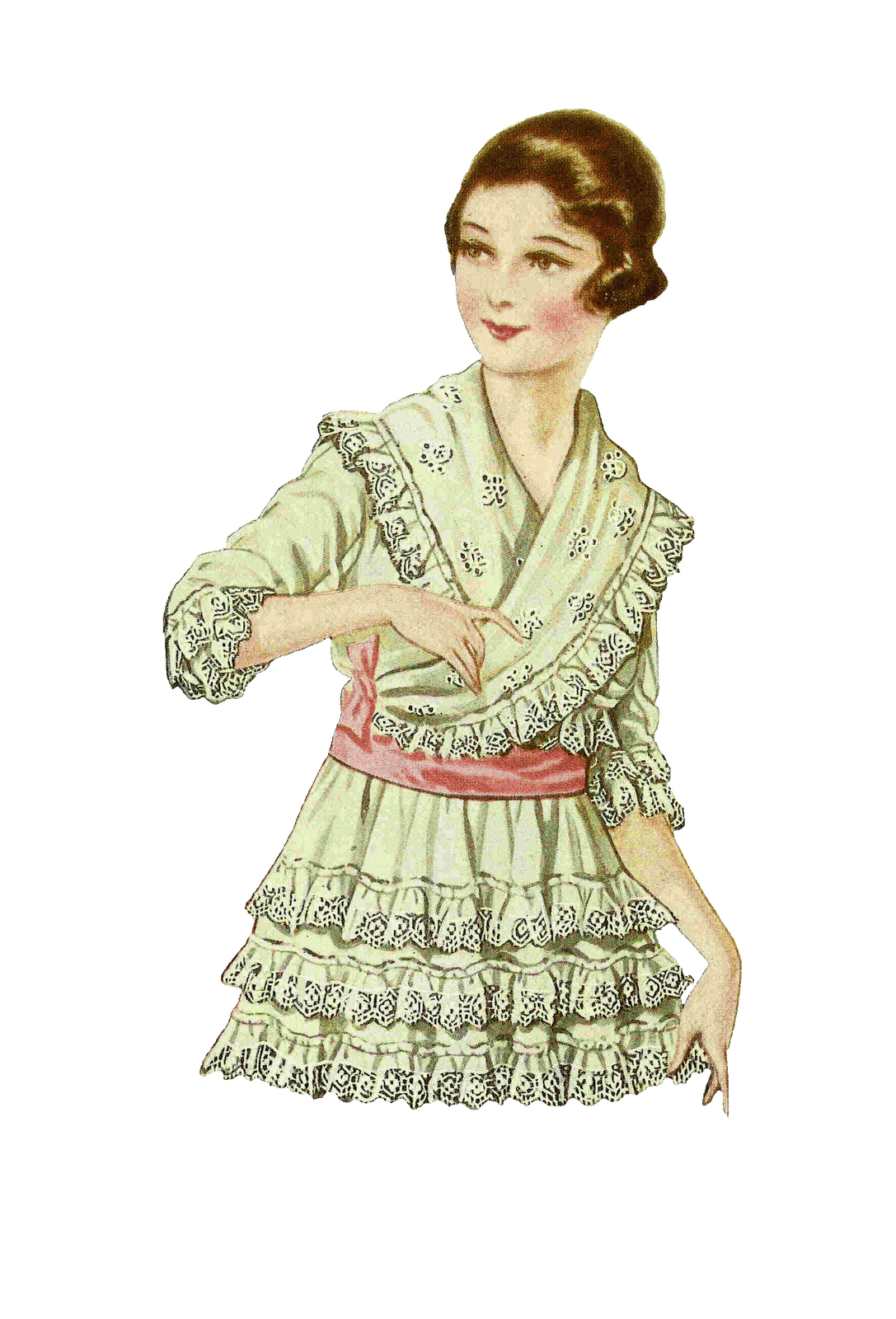 Vintage women png. Woman looking at small