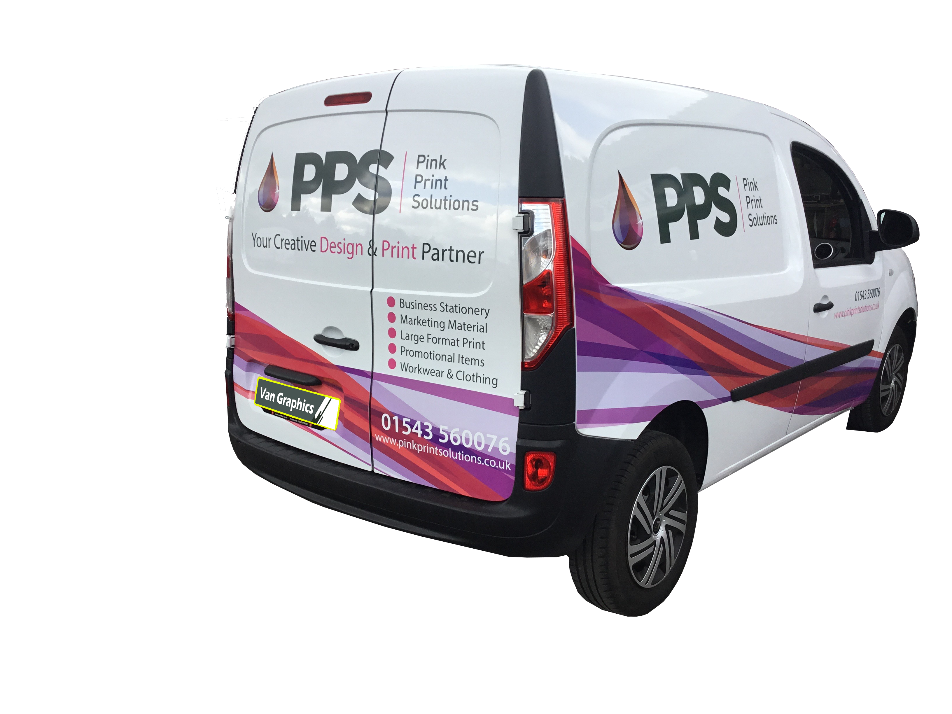 Vector van signage. Small signserve vehicle by