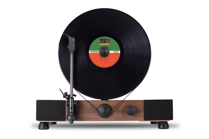 Transparent records turntable. Floating record vertical by