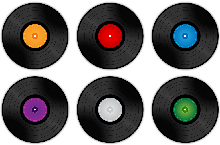 Transparent records. Vinyl record collection png