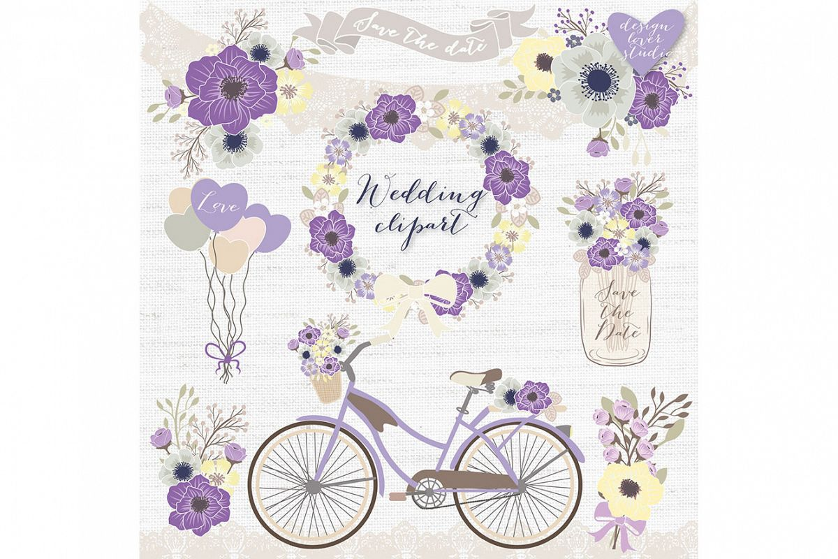 Violet bicycle. Vector rustic purple wedding