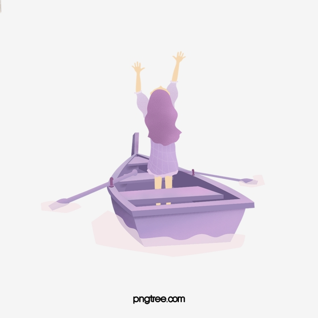 Violet boat. Purple long haired girl