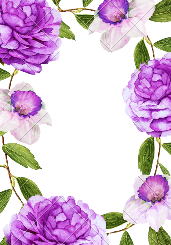 Violet clipart watercolor. Beautiful flower frame photos