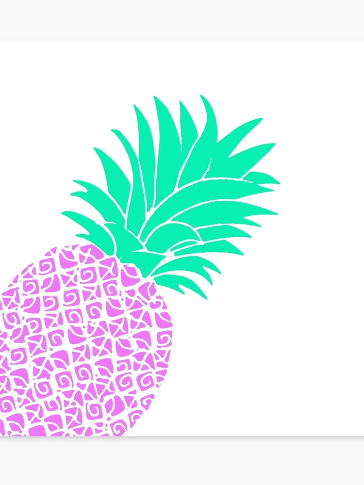 Violet pineapple. Bright pineapples mint teal