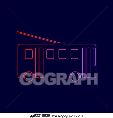 Red trolleybus. Vector stock sign line