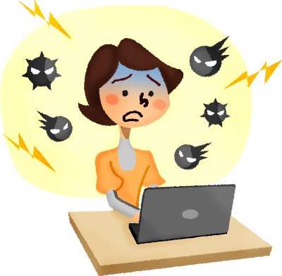Virus clipart infected person. Panicked woman in front