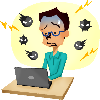 Virus clipart infected person. Panicked man in front