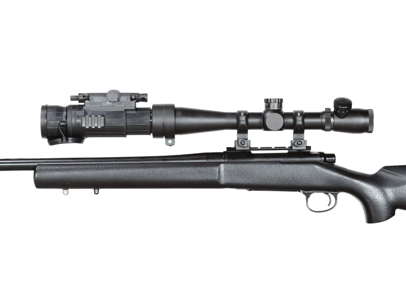 Weapon clip thermal rifle scope. Day night vision on