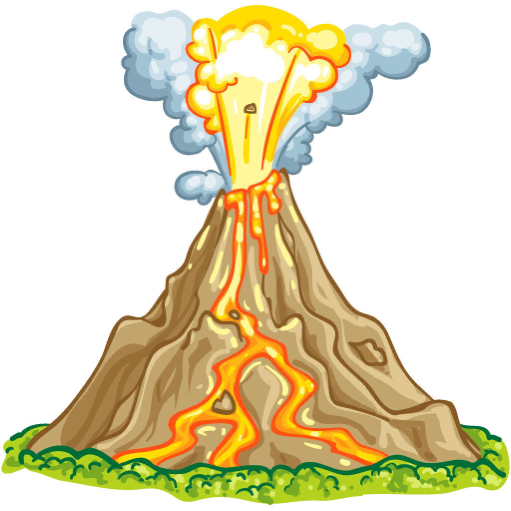 Transparent volcano animated. Wallabee collecting and trading