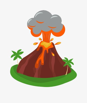 Spectacular volcanic eruption lava. Volcano clipart clipart black and white stock