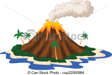 Vector illustration of volcanic. Volcano clipart clipart royalty free