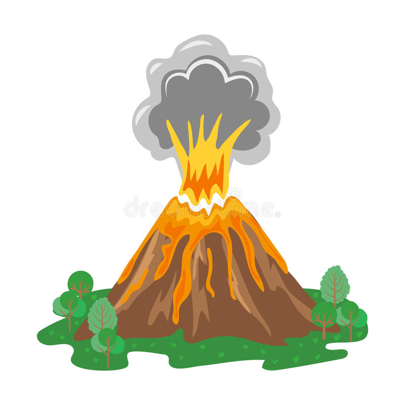 Volcano clipart fire. Eruption with smoke and image black and white