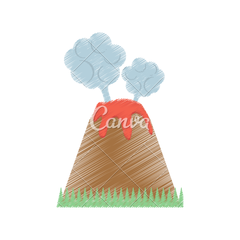 Volcanoes drawing cloud. Volcano eruption lava mountain
