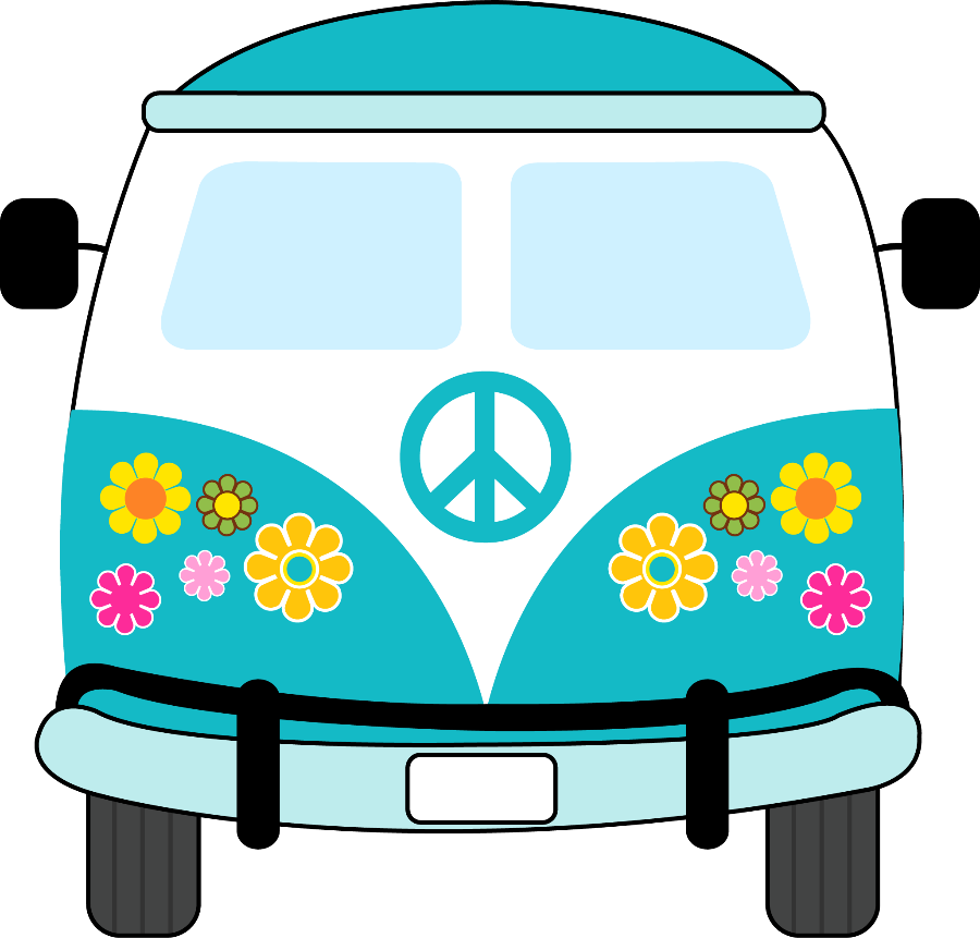Volkswagen drawing hippie. Pe ce p